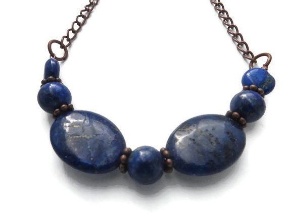 Royal Blue Stone Necklace Copper Blue Lapis by JewelryJustMyStyle