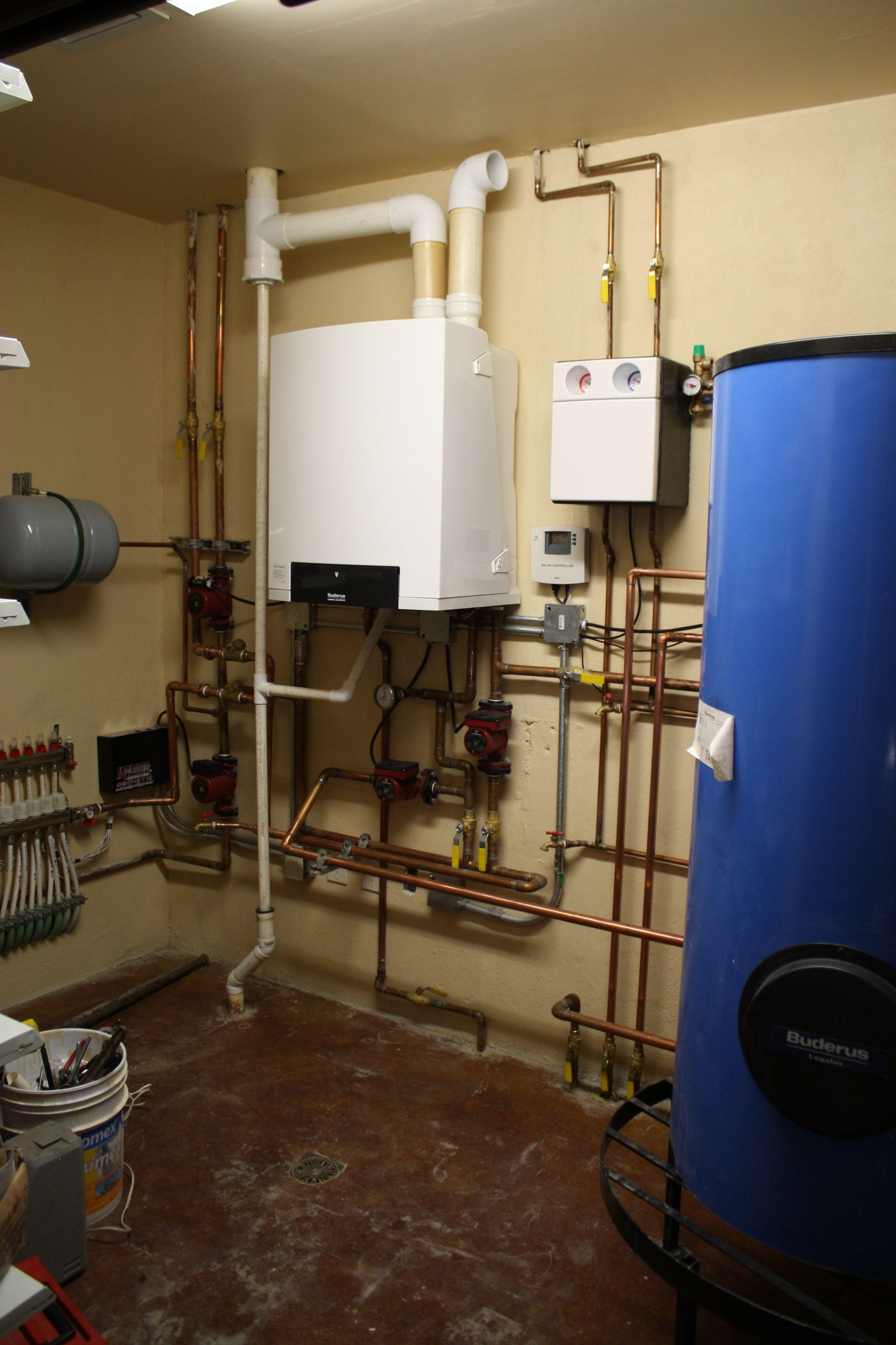 Caldera Mural Buderus Con Sistema De Calefaccion Radiante Y Colectores Solares Bosch Santehnika