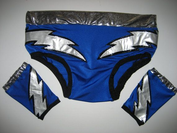 pro wrestling trunks with set of wrist covers blue by brozdesign