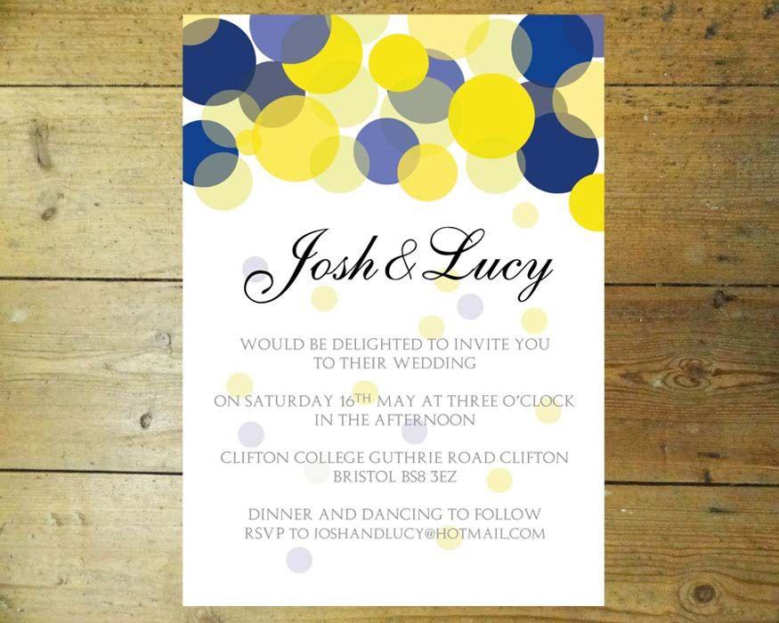 Blue And Yellow Wedding Invitations: (Beautiful Lights) Navy Blue
