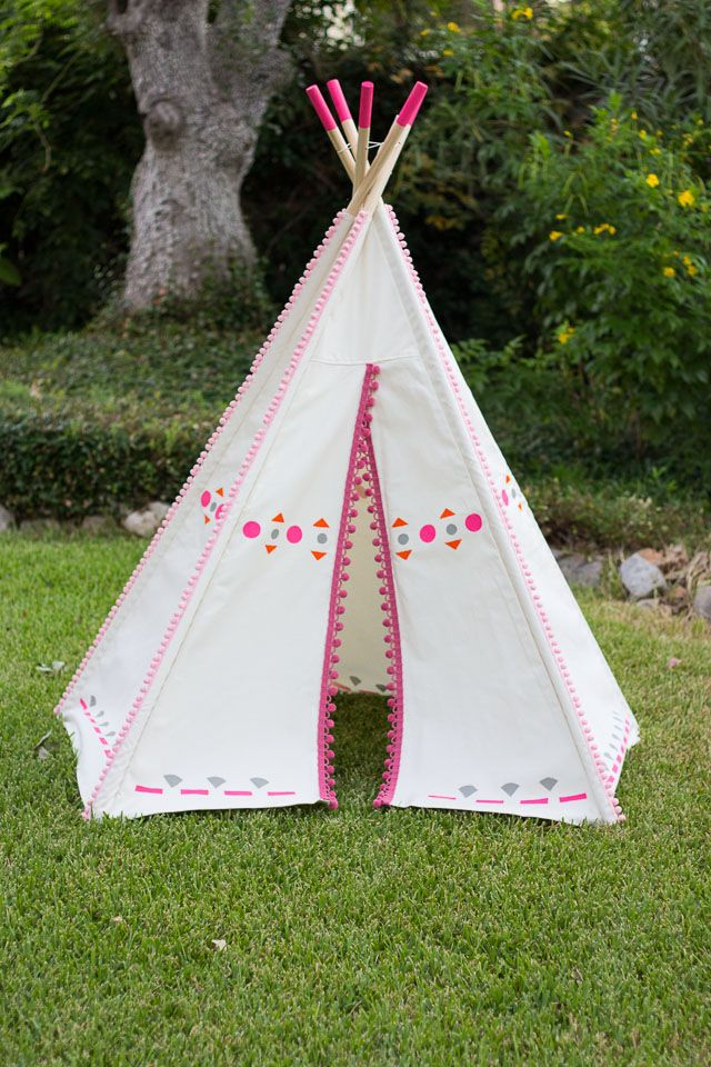 DIY Decorated Teepee - just add pom-pom trim and colorful shapes to make it & DIY Painted Kids Teepee | Pom pom trim Decorating and Blog