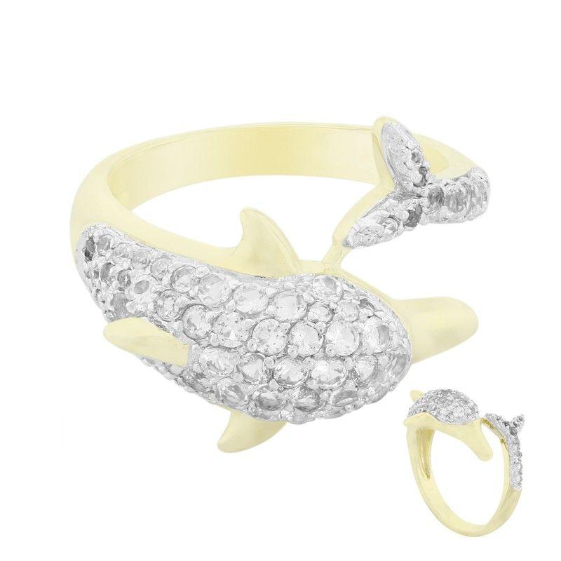 ecb05d5fa666d5 Bague pour femme en forme de dauphin, sertie de Topazes blanches - Bijoux  Juwelo