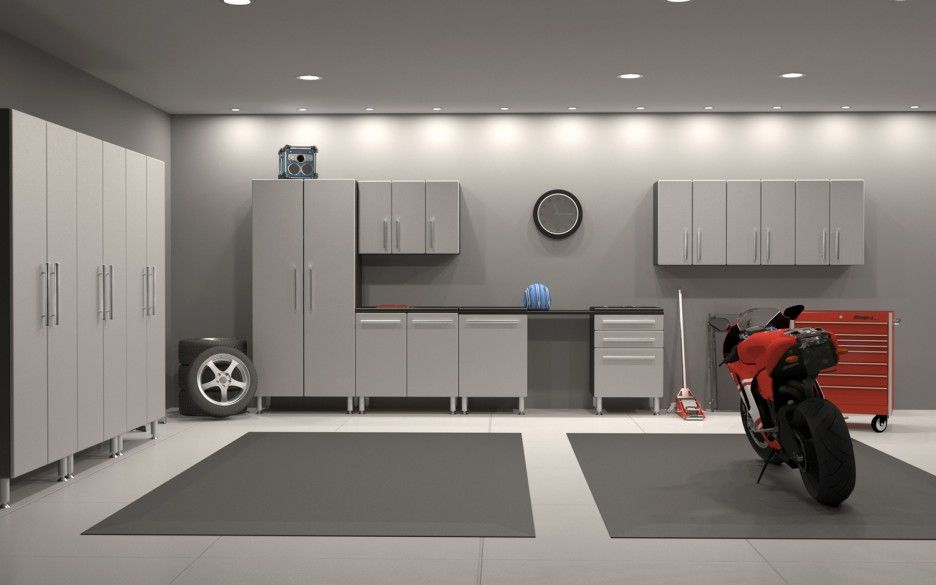 Elegant Garage Design Decoration Inspiration Equipped With Grey Color Of Wall Painting Combined With Grey Garage Design Interior Garage Interior Garage Design