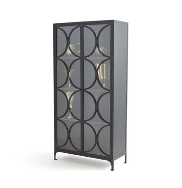 the hugh cabinet is a double door cabinet made of iron and glass rh pinterest com