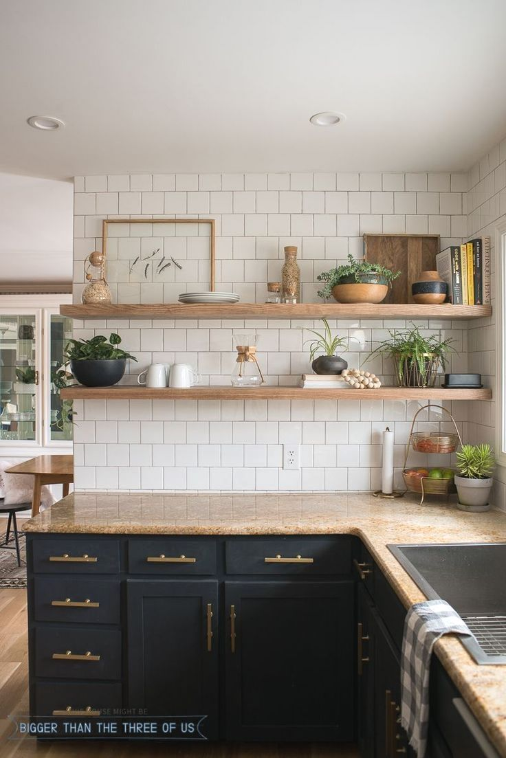 Kitchen Renovation With Dark Cabinets And Open Shelving Bigger Than The Three Of Us Open Kitchen Shelves Kitchen Renovation Diy Kitchen Decor