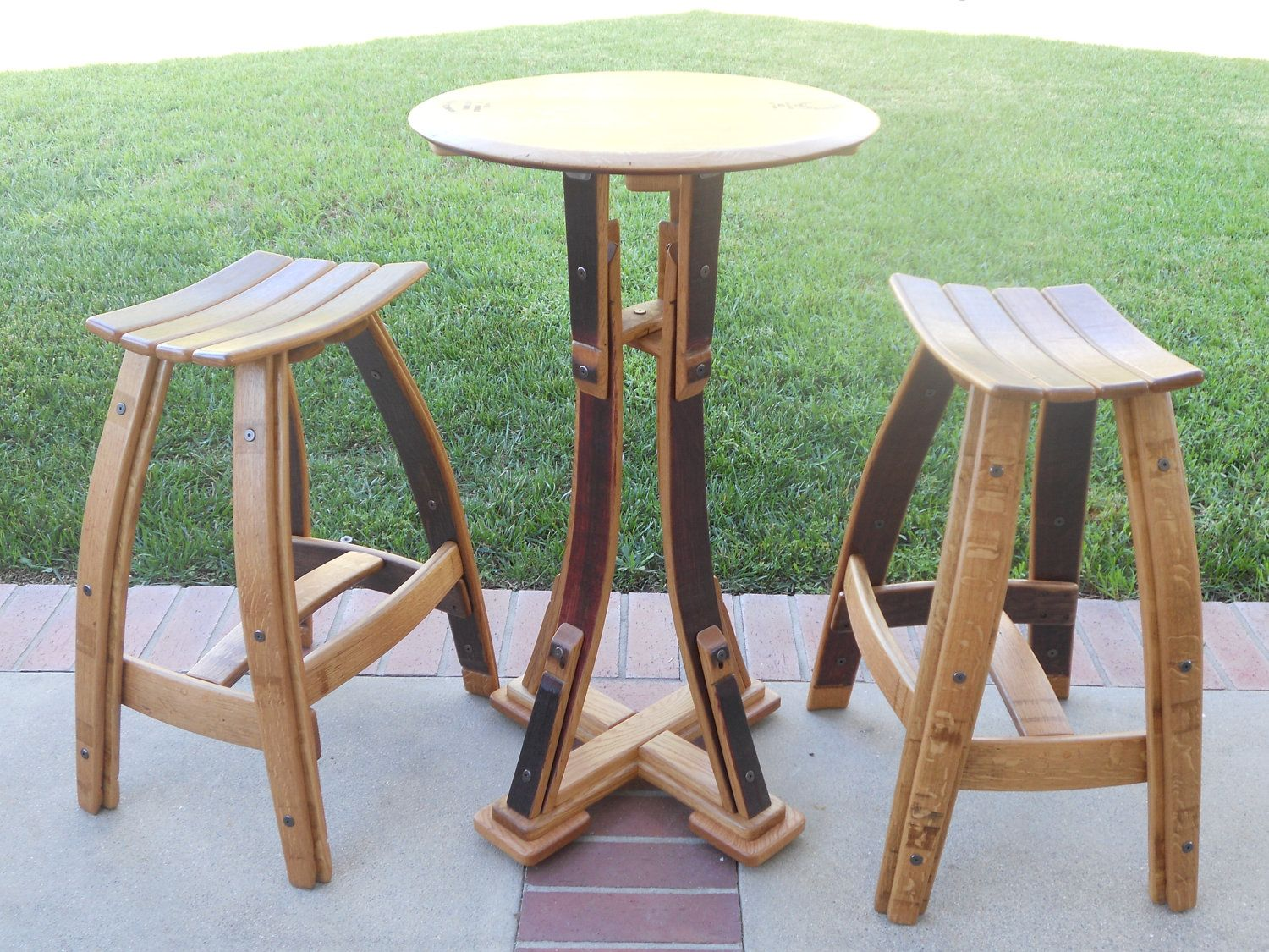 Wine Barrel Bistro Set With Stave Seat Stool 129500 Via Etsy