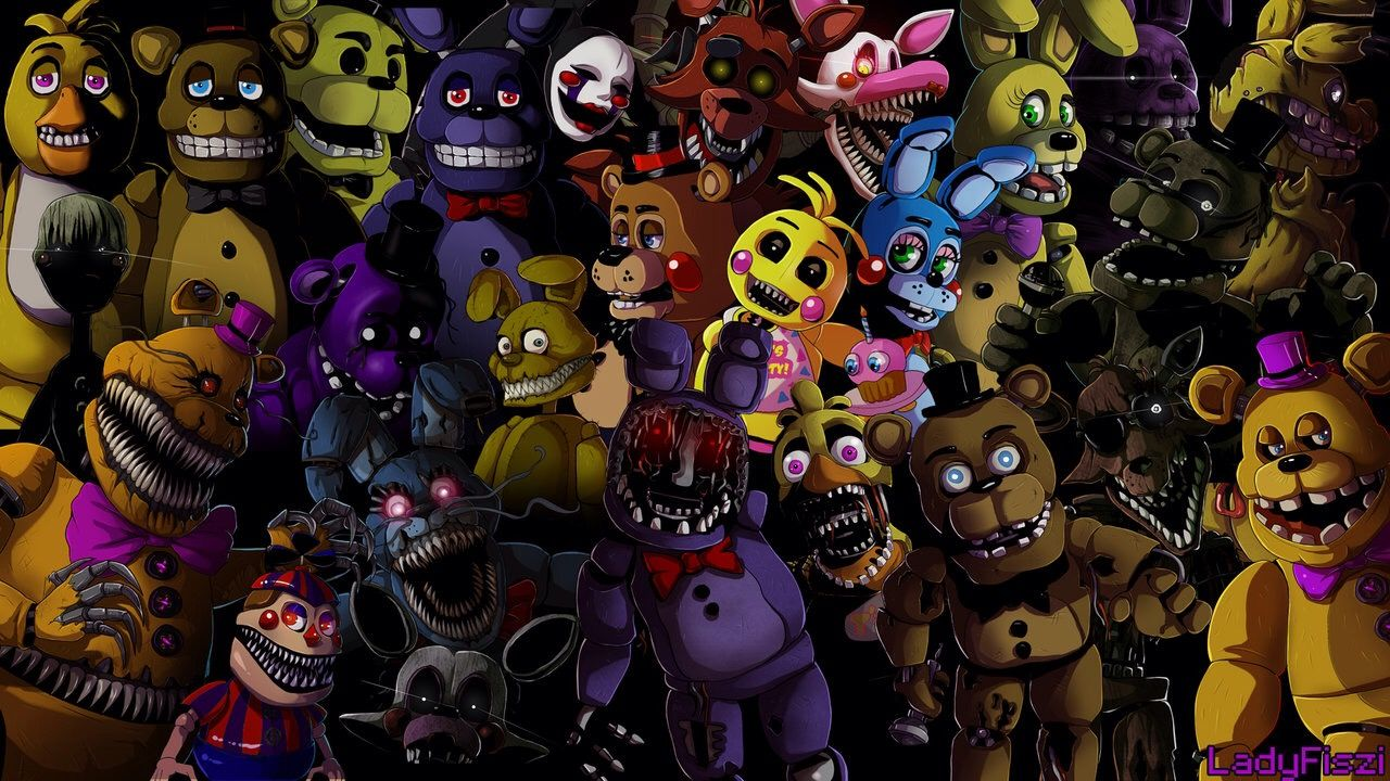 Lots of Fnaf characters! It would make a cool wallpaper