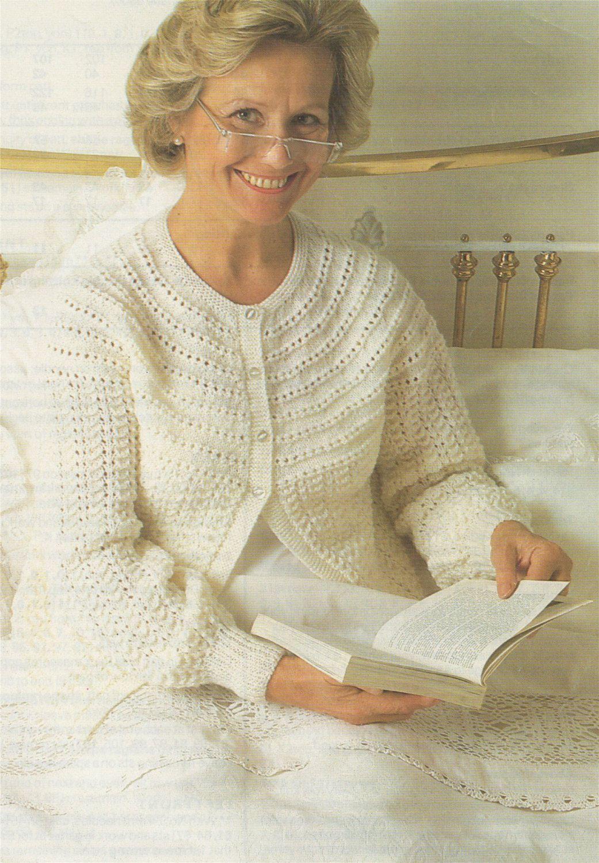 Womens Bedjacket Knitting Pattern Pdf Ladies 32 34 36 38 40