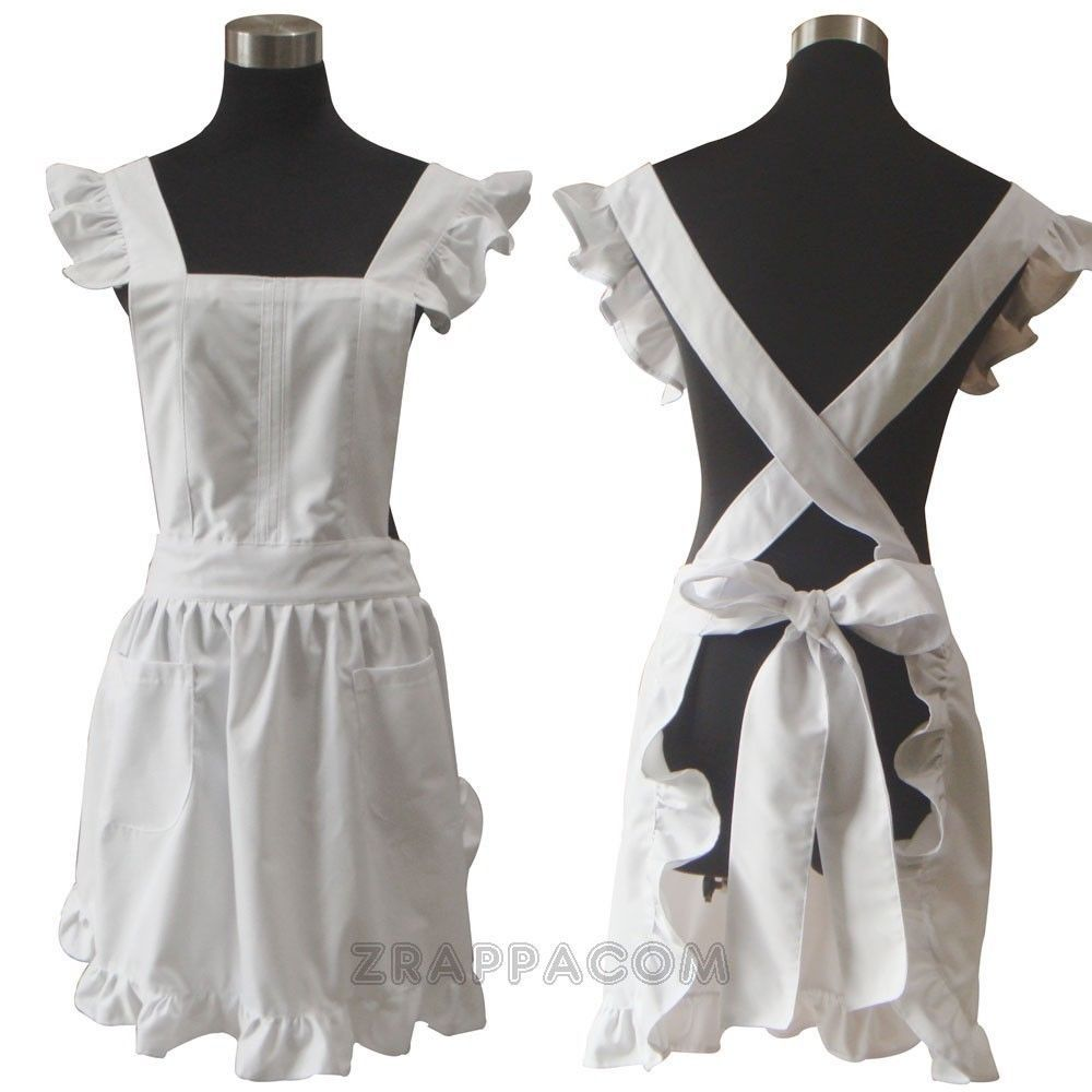 White Kitchen Apron women's lolita apron - french maid white vintage kitchen apron