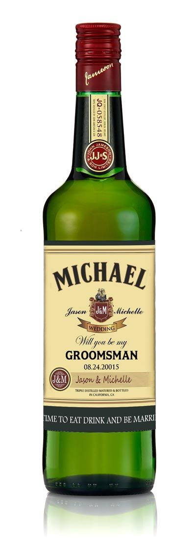 Groomsman or best man gifts personalized jameson whiskey for Groomsman liquor bottle labels