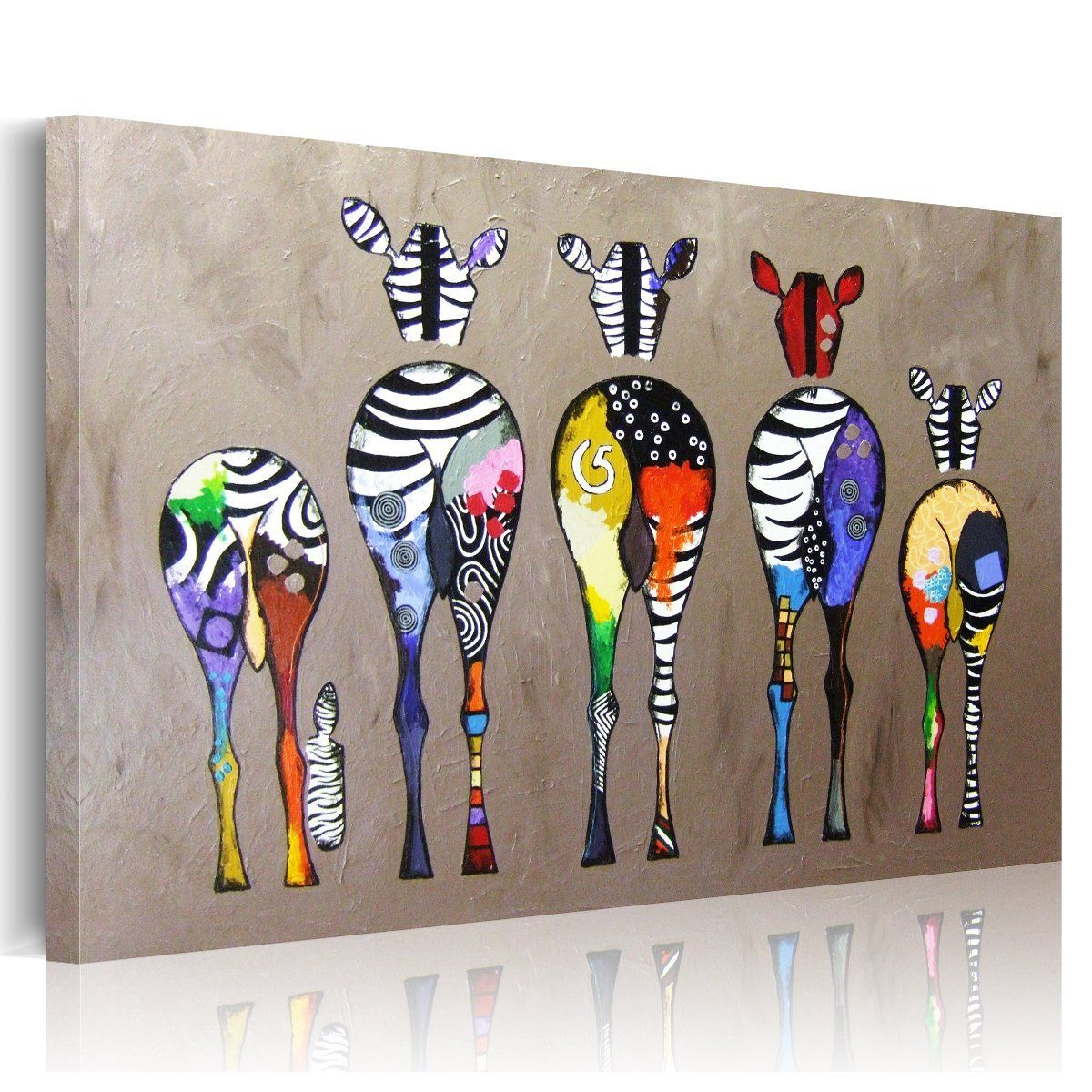 Uniquebella multicolored zebras background abstract oil painting on canvas l - Toile decoration murale pas cher ...