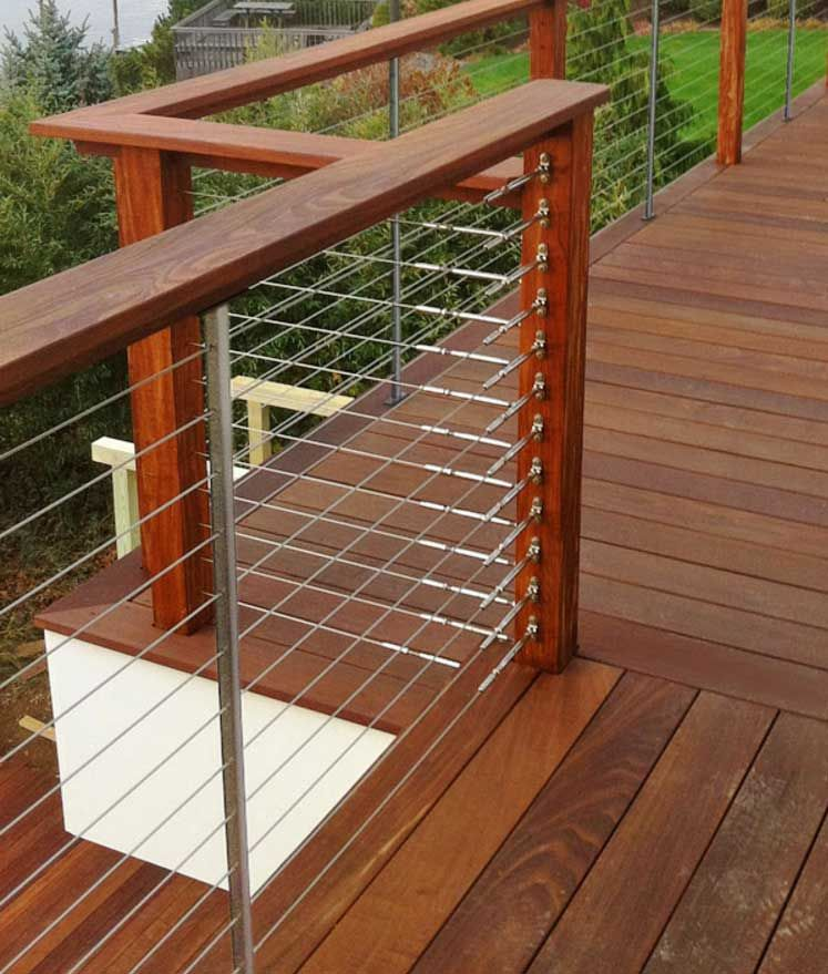 feeney cable rail for wood deck railing with quick connect. Black Bedroom Furniture Sets. Home Design Ideas