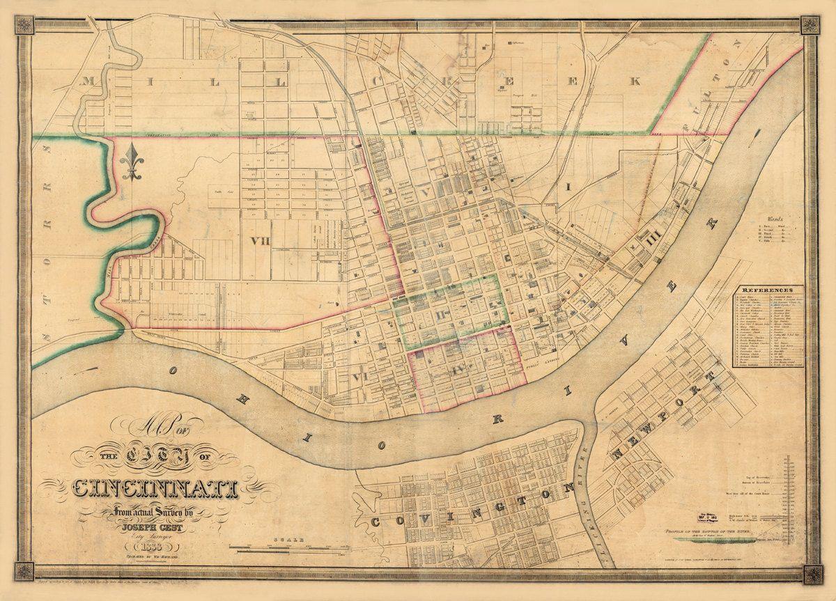 Vintage map cincinnati ohio 1838 3000 via etsy dot dash vintage map of cincinnati malvernweather Image collections