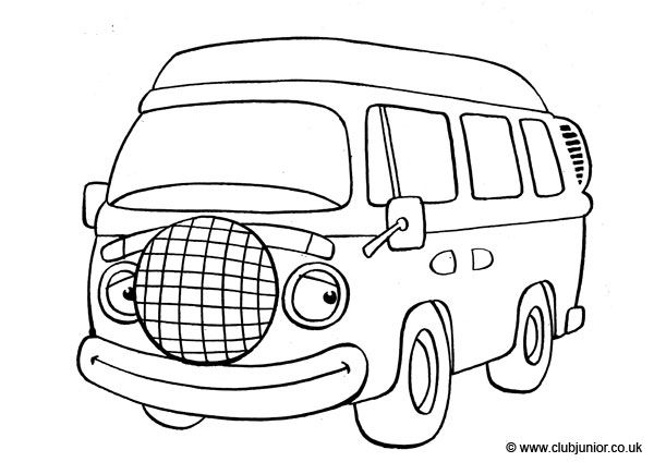 vw camper van colouring pages  page 2
