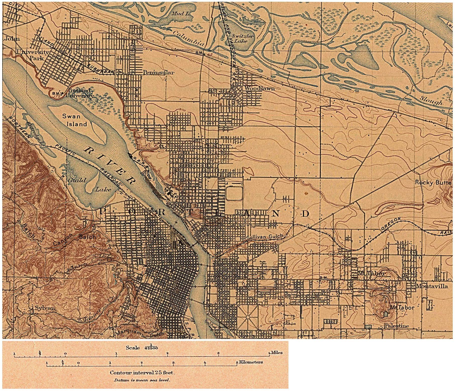 Portland Oregon Map Of Neighborhoods.1897 Portland A Railroad Where The Banfield Now Runs And Not Even