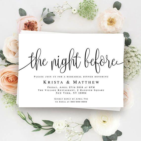 Pre Wedding Dinner Invitation
