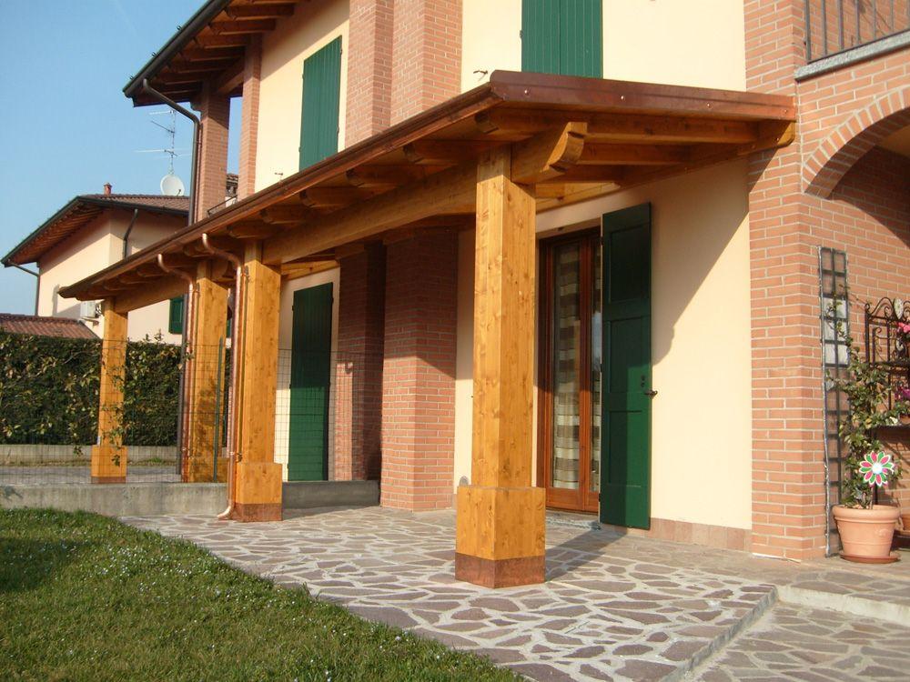 Porticato con colonne ad una falda linea classica - Tettoie per finestre ...
