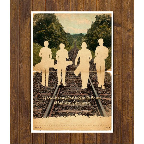 Stand by Me Movie Poster - Vintage Style Magazine Retro Print Cinema... ($24) ❤ liked on Polyvore