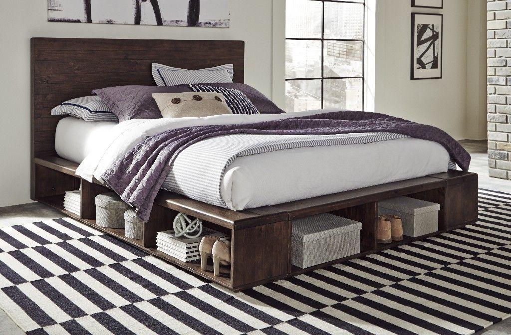 McKinney Queensize Solid Wood Low Platform Storage Bed in