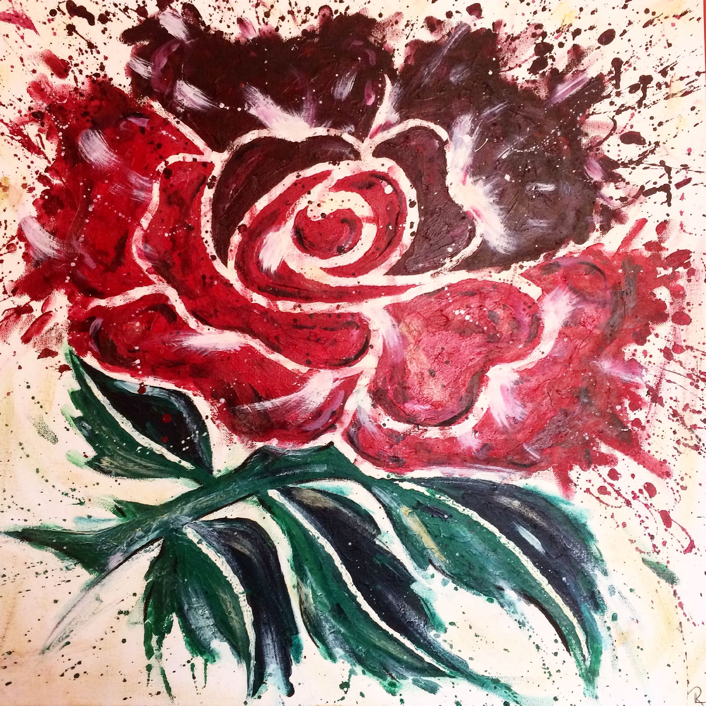 Traditional England Rugby Rose Splatter Affect And Authentic Back Drop Acrylic On Canvas England Tattoo England Rugby English Rugby