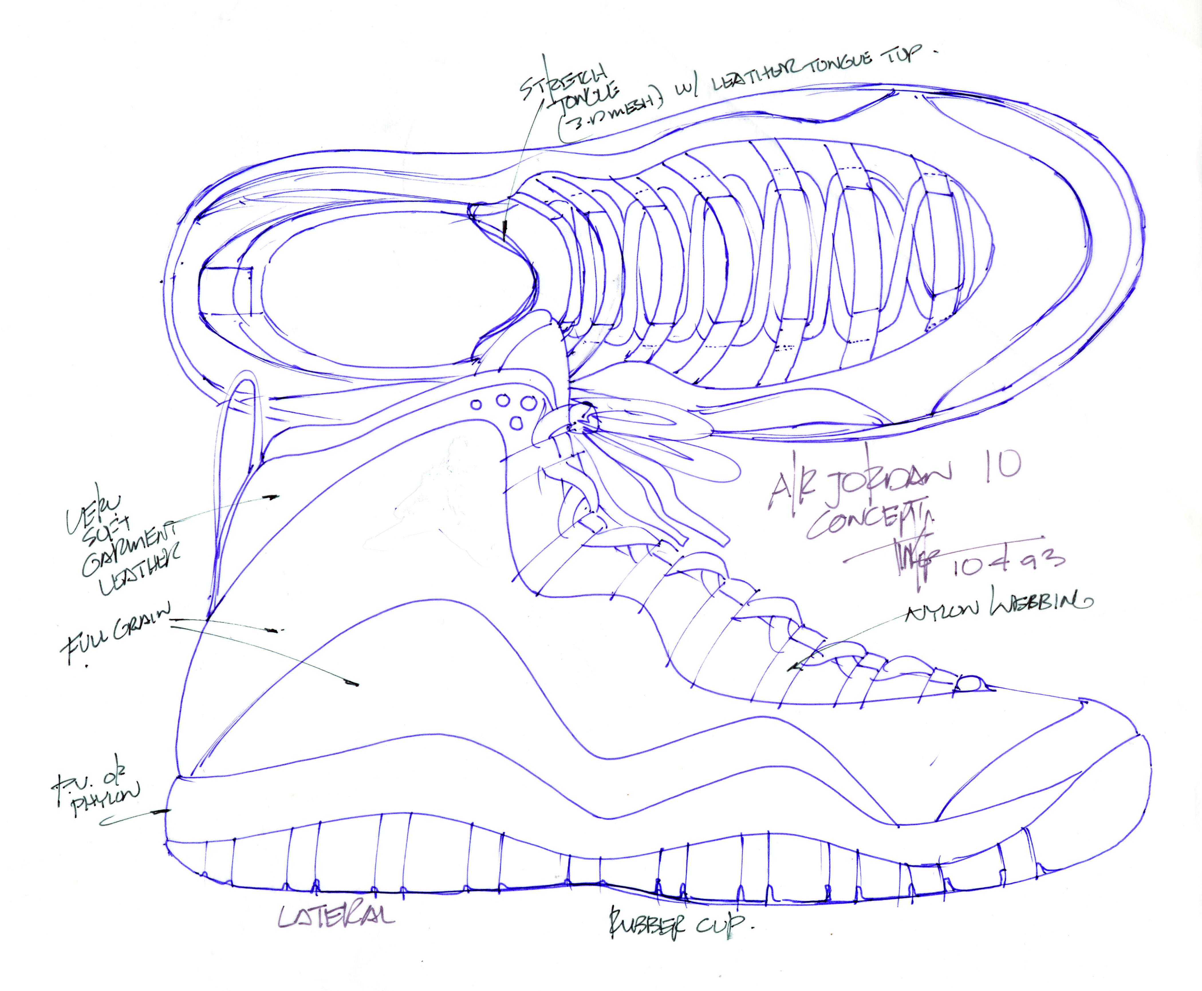 0cab03a5b6a301 Air Jordan X concept sketch