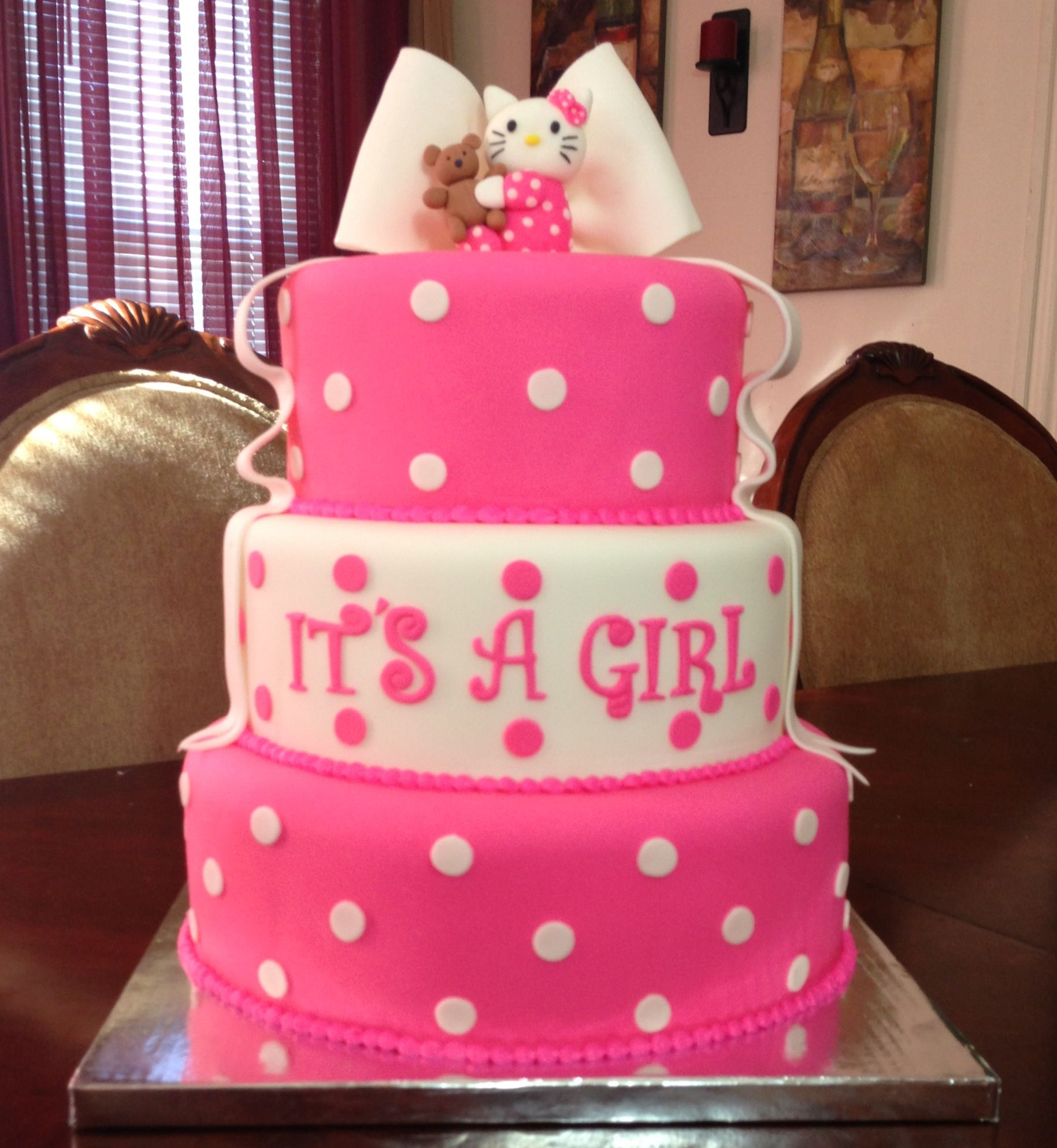Hello kitty baby shower cake by Jasmine's Cakes ) Hello