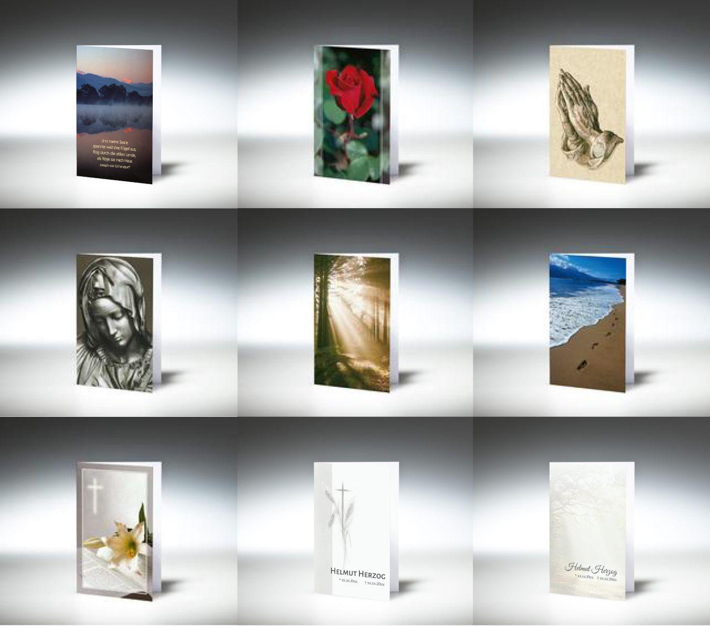 Trauerbilder oder Sterbebilder online drucken. Einfache Gestaltung ...