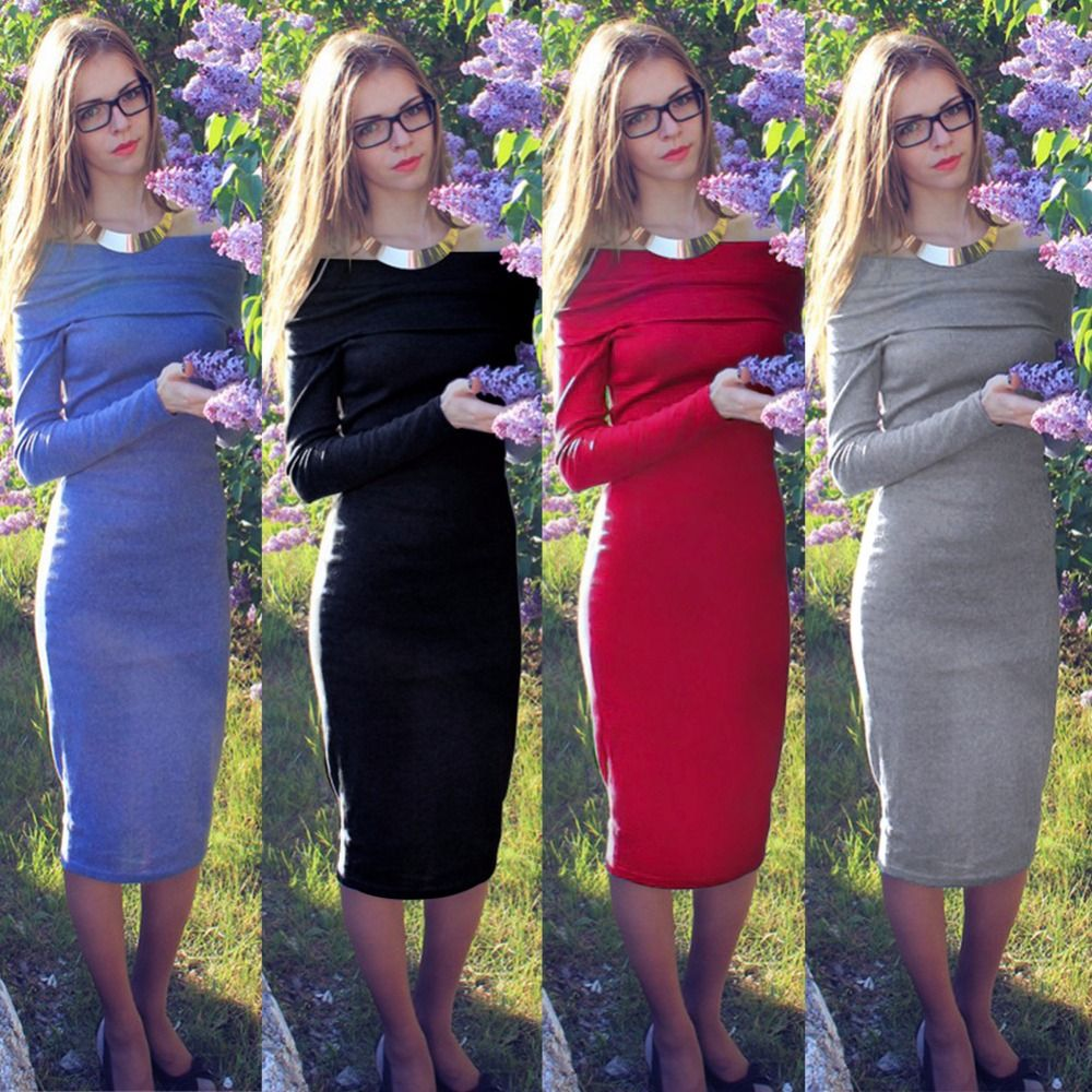 d83c755af8a67 2017 Sexy Fashion Dress Off Shoulder Knitted Maternity Sweater Dresses  Night Club Women Clothes Warm Long