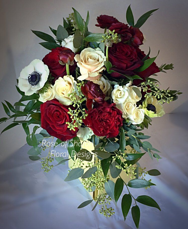 Gorgeous Red Bridal Bouquet Featuring Garden Roses Anemones