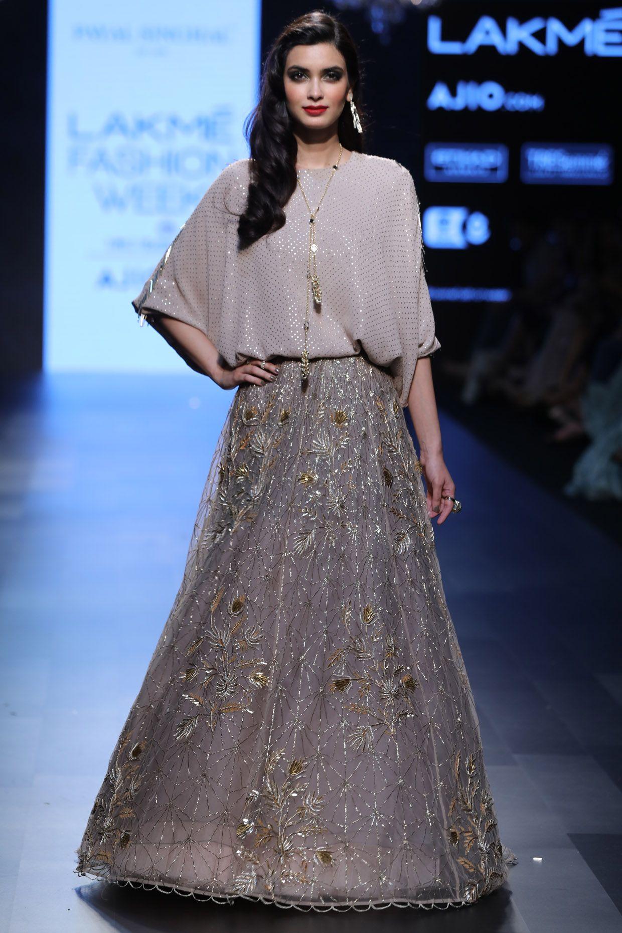 Blush And Ash Grey Kaftan Tunic With Embroidered Lehenga Skirt