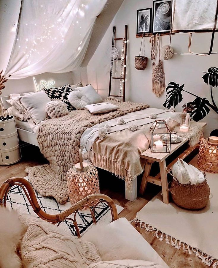 Photo of Bohemian Style Ideas For Bedroom Decor,  #bedroom #Bohemian #cutehomedecorations #Decor #idea…