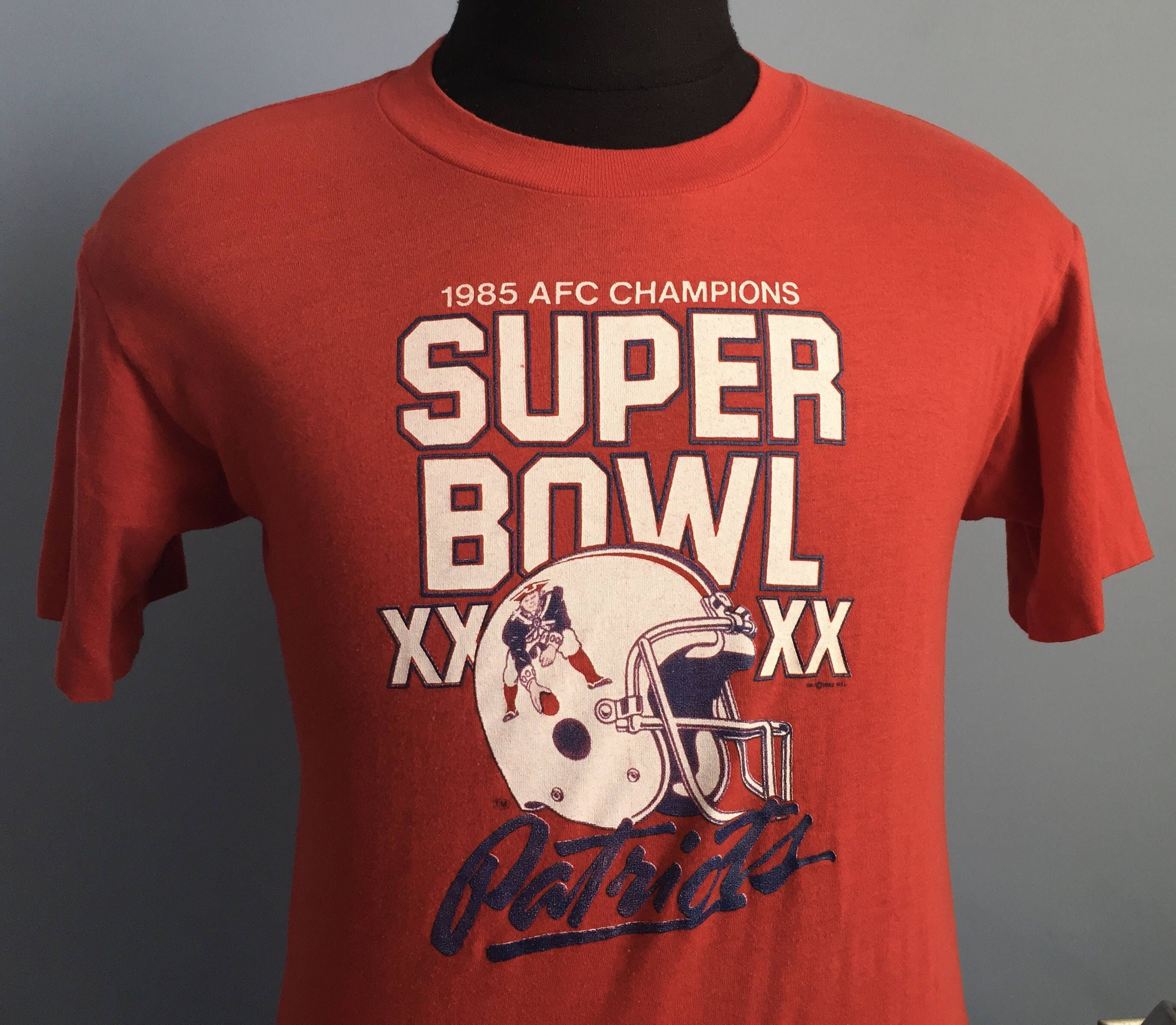 80s Vintage New England Patriots Super Bowl XX 1985-1986 NFL football T- Shirt 9143f028a