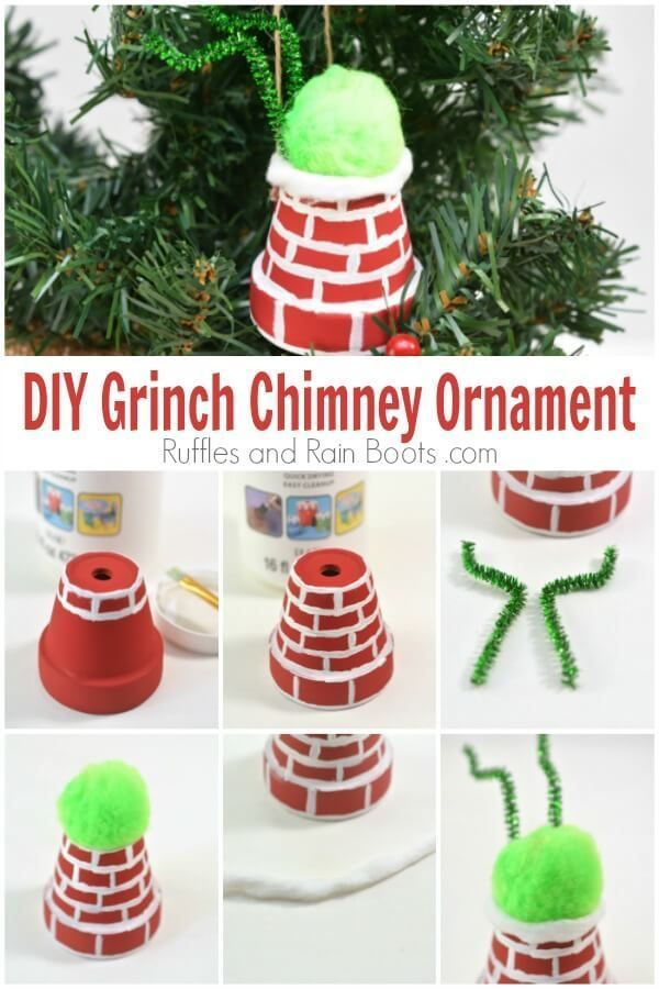 DIY Grinch Ornament - The Grinch is Stuck in a Chimney!