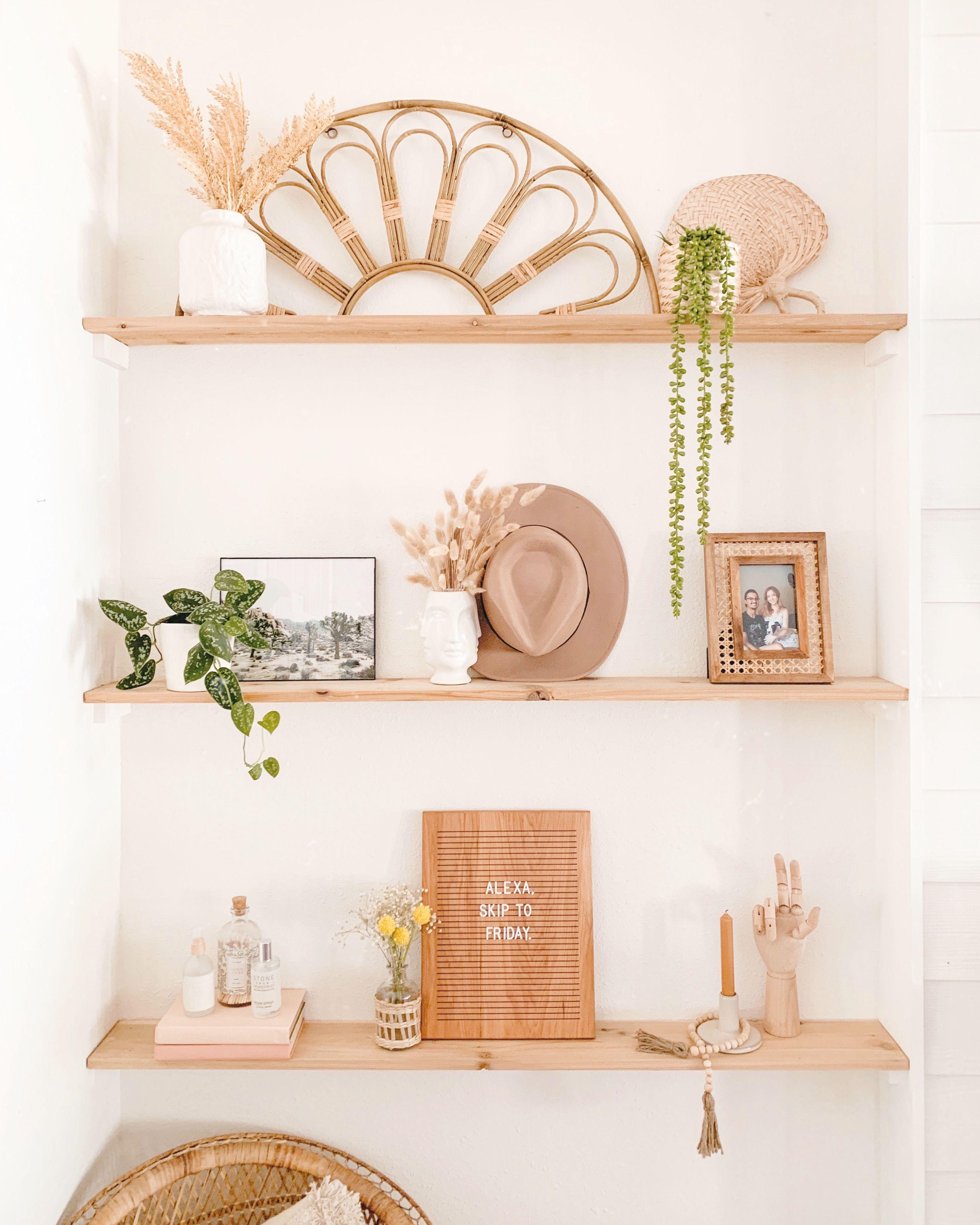 Boho Styled Shelves Shelf Decor Living Room Shelf Decor Bedroom Dining Room Shelves