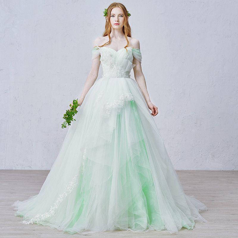 Designer Ivory White Fairylike Wedding Bridal Dresses With Mint Color