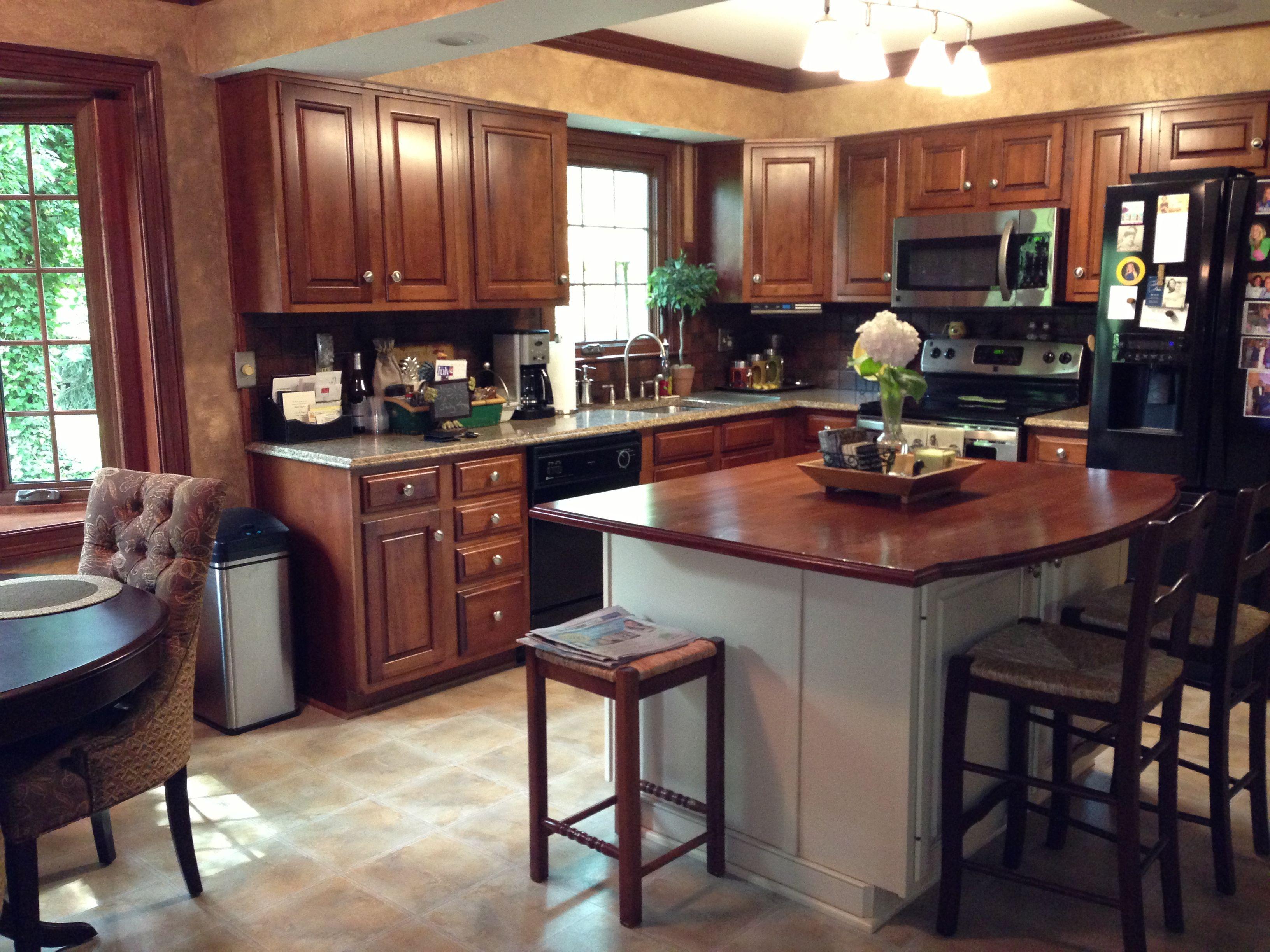 Kitchen redo quartz countertops, cherry island top with almond ...