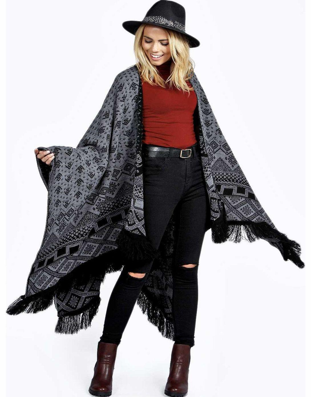 boohoo Rosie Nordic Print Tassel Blanket Cape grey Go
