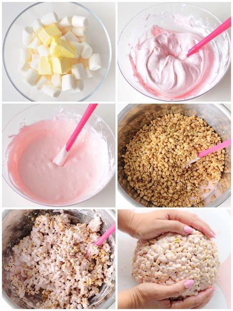 eine bebilderte Schitt für Schritt Anleitung für Rice Krispies Modelliermasse #ricekrispiestreats