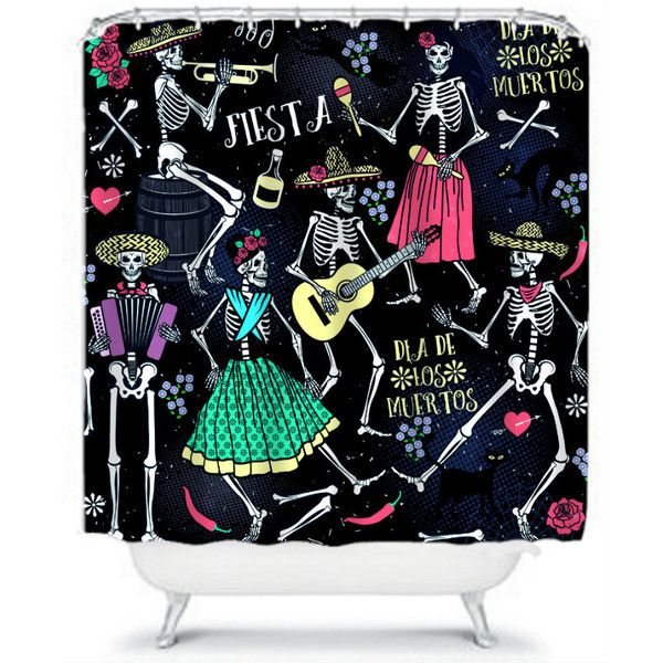 Sugar Skull Shower Curtain Day Of The Dead Skeleton Fiesta 60 Liked On Polyvore Featuring Home Bed Bath Curtains Bathroom