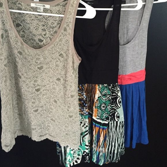 F21 Bundle Are all from f21//size medium. Cute colorblock top. Self tie on back lace see through tank and tribal cover up. Forever 21 Tops Tank Tops