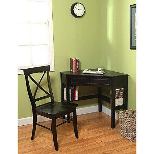 Metro Shop Black Corner Desk And Crossback Chair 2 Piece Study Set