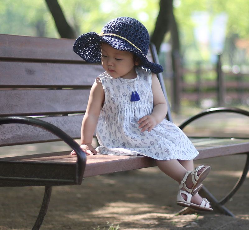 Happy Prince -  a beautiful summer combination: dress + sunhat both by Happy Prince. A Korean brand traditionally making children hats of all sorts.