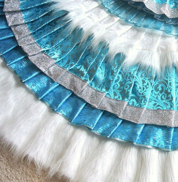 Aqua Christmas Tree Skirt: TURQUOISE & SILVER Glitter White Fur-Trimmed Ruffled