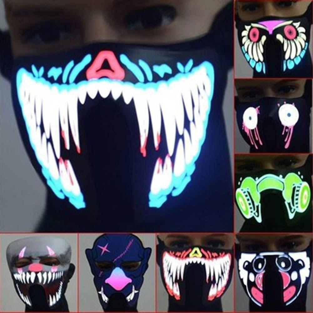 LED Glowing Half Masks Light up face mask, Mask party