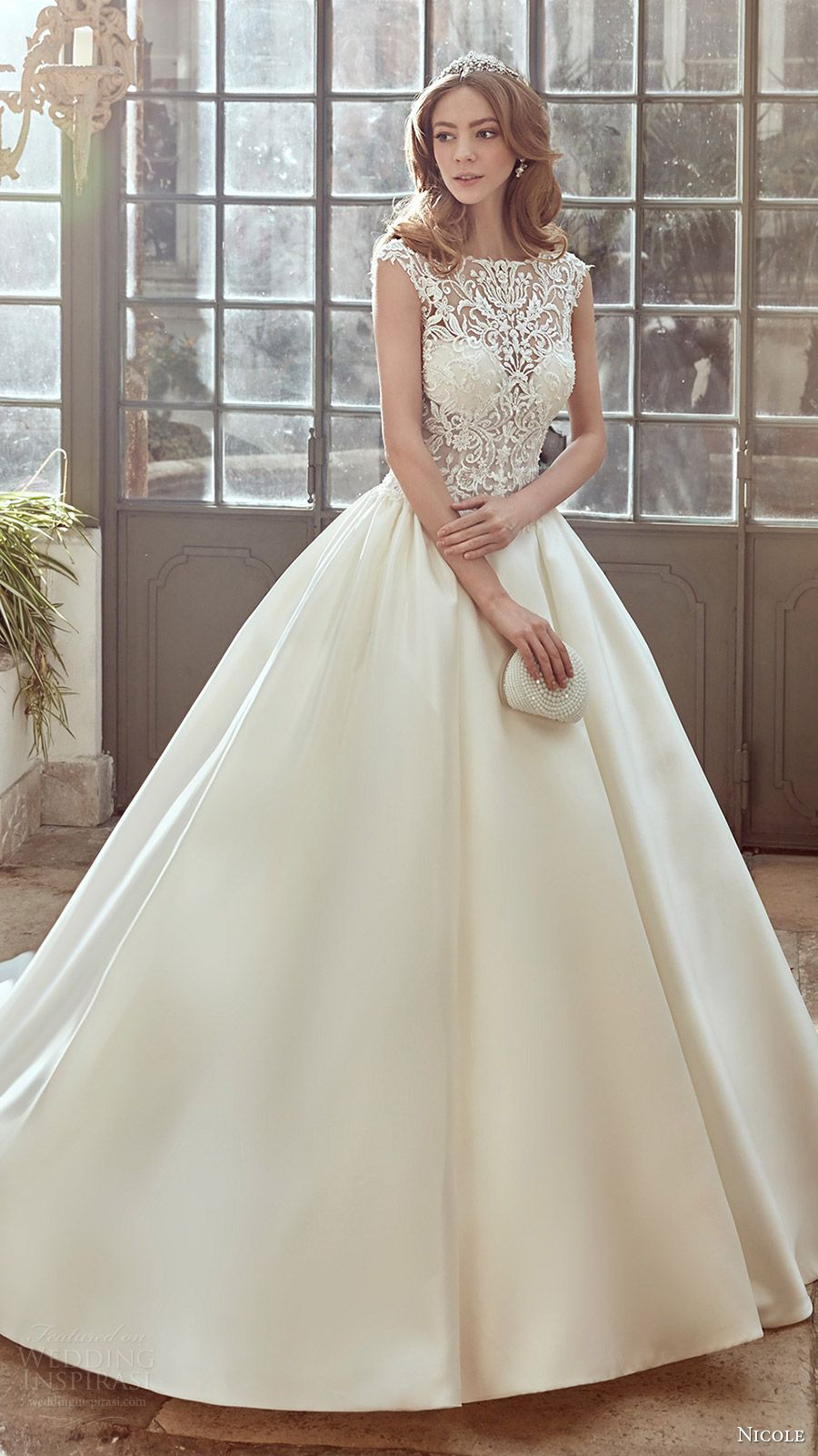 nicole spose bridal 2017 cap sleeve illusion jewel sweetheart ball gown wedding dress (niab17048) mv