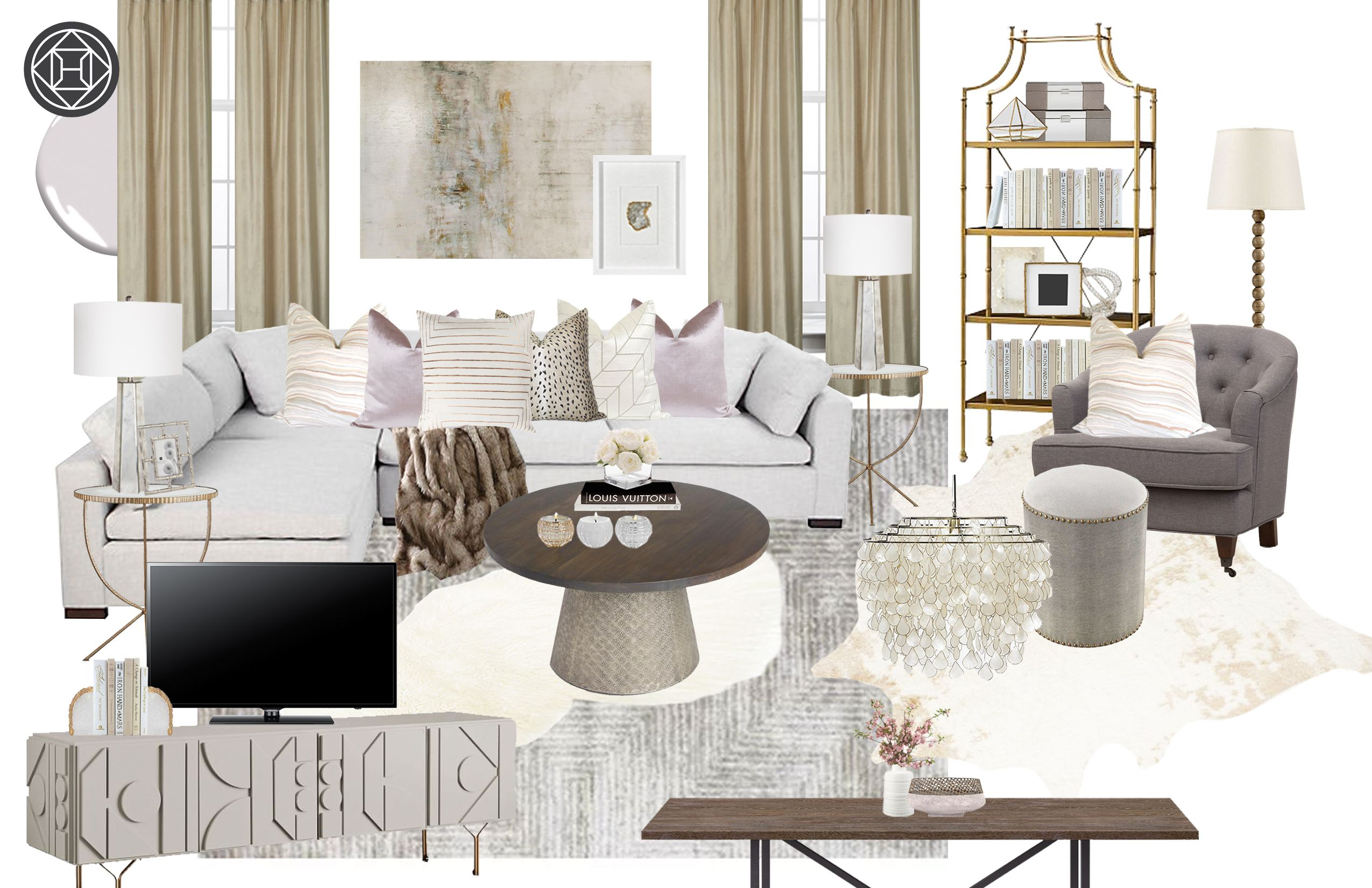 Classic, Eclectic, Glam, Transitional Living Room Design by Havenly Interior Designer Hannah #havenlylivingroom