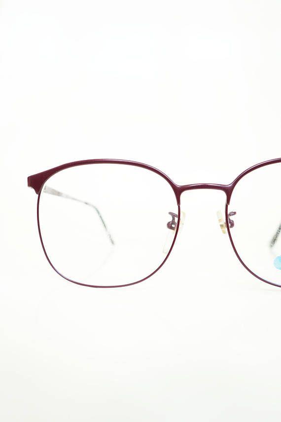 97ed1c5b4f39 Vintage 1980s Oxblood Wayfarer Eyeglasses Womens Glasses Dark ...