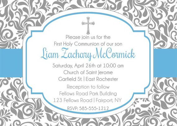Boy First Holy Communion Invitation  Printable by AnnounceItFavors