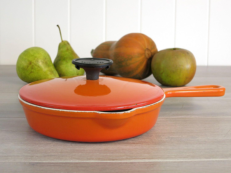 Vintage Cousances 16 Orange Skillet with Lid - Enameled Cast Iron Le ...