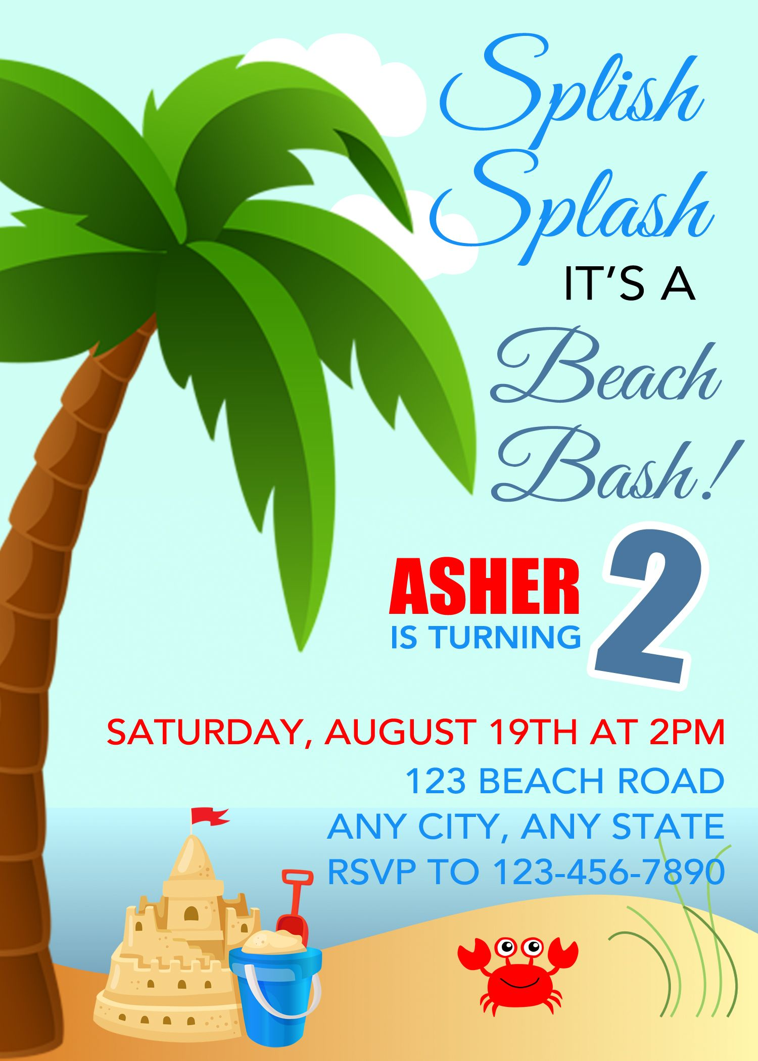 Birthday Beach Invitation Birthday Invitation Birthday Beach